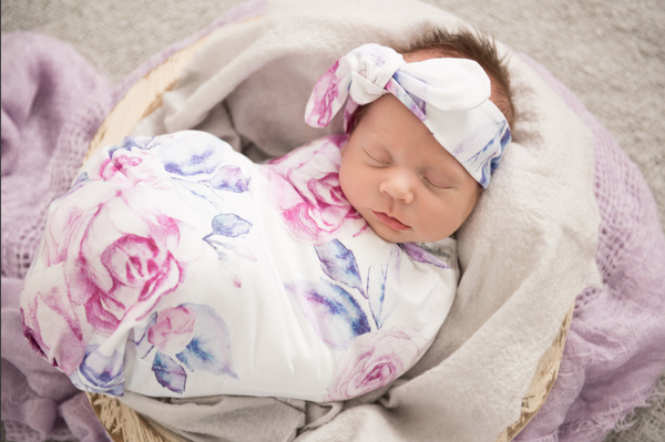 Snuggle Hunny Kids | Lilac Skies Snuggle Swaddle & Beanie Set