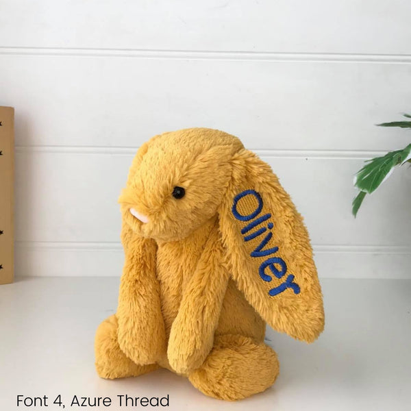 Personalised Jellycat Bunny Australia Saffron Yellow with name on ear Rabbit