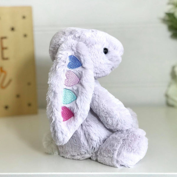 personalised bunny australia, lavender jellycat with hearts embroidered on ear