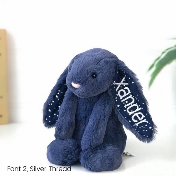 Personalised Jellycat Bunny Australia Navy Stars Name on Ear