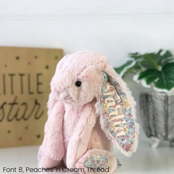 Personalised Jellycat Bunny Australia Blush Peach Blossom Floral Name Ear