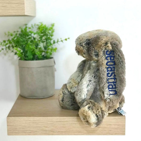 Personalised jellycat bunny, cottontail brown with navy name on ear, Eenie Meenie Mine Australia