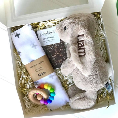Personalised jellycat bunny newborn gift box, with cheeky cacao, bella zailea teether and ES kids wrap, newborn gift hamper Eenie Meenie Mine Australia