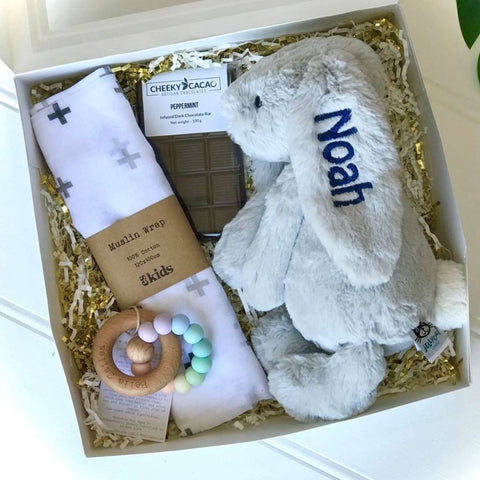 Personalised Jellycat Bunny Gift Box - Silver