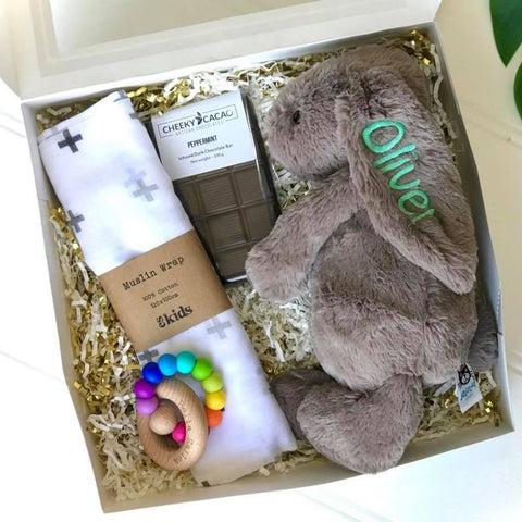 Personalised jellycat bunny newborn gift hamper with wrap, cheeky cacao chocolate & bella zailea teething ring. Newborn gift box Australia, Eenie Meenie Mine