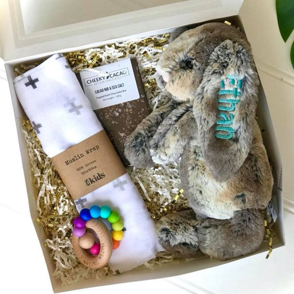 Personalised jellycat bunny gift box, cottontail with cheeky cacao, bella zailea and ES Kids wrap, newborn gift hamper Australia