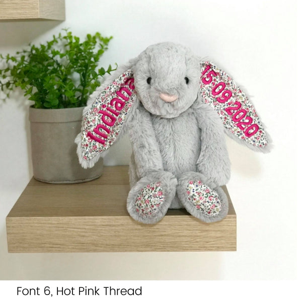 Personalised Jellycat Bunny Australia Silver Blossom Floral Flower Ear