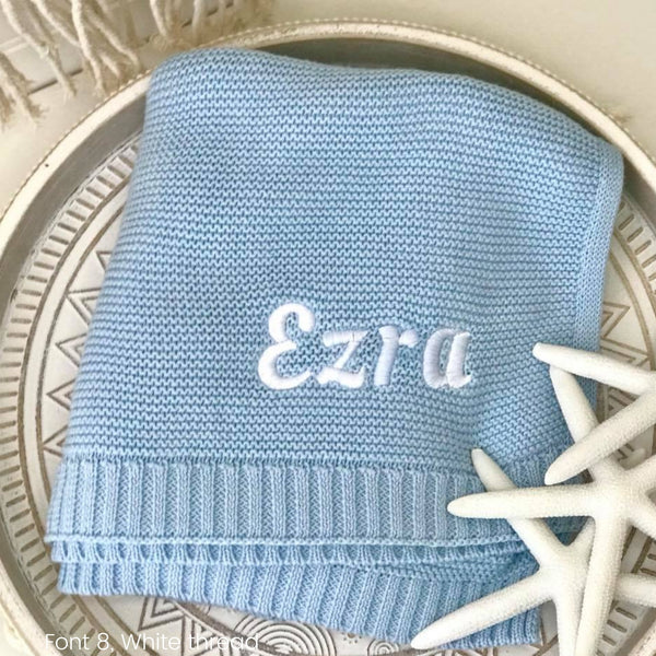 Personalised baby blanket Australia, cotton knit, blue boy with name embroidered