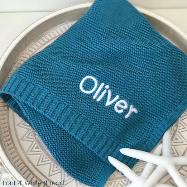 Personalised baby blanket Australia, cotton knit, blue teal with name embroidered