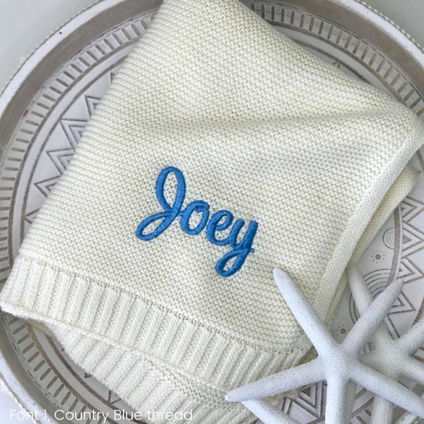 Personalised baby blanket Australia, cotton knit, cream white with name embroidered