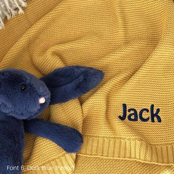 Personalised baby blanket Australia, cotton knit, mustard yellow with name embroidered