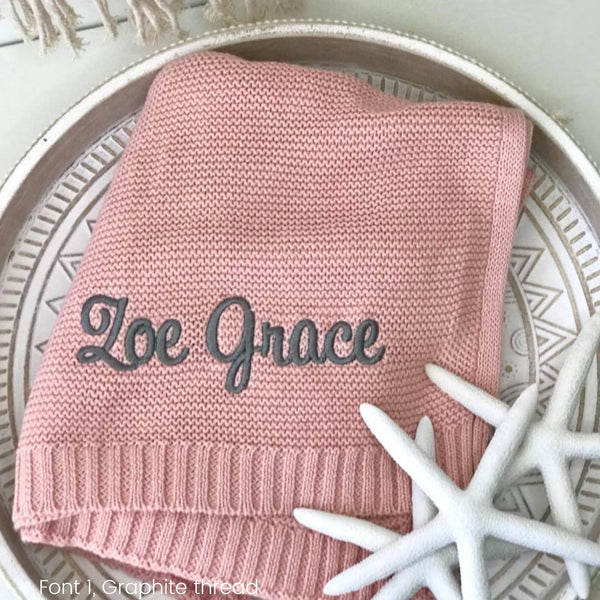 Personalised baby blanket Australia, cotton knit, pink with grey name embroidered