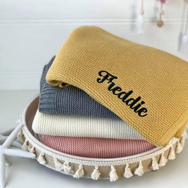 Personalised baby blanket Australia, cotton knit, mustard yellow, grey, cream, pink
