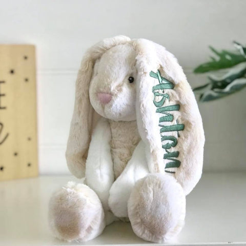 Personalised Frankie Bunny Cream Large with sage name on ear