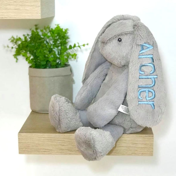 Personalised Bunny with blue name on ear, frankie korimco bunny