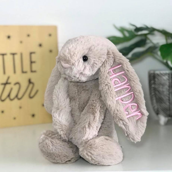 Personalised jellycat bunny Australia, beige bunny with pink name on ear