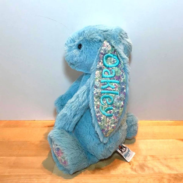 Personalised Jellycat bunny, Aqua Blossom with blue name on ear