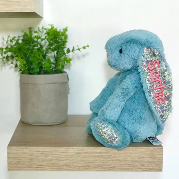 personalised jellycat bunny, aqua blossom blue with pink name on ear