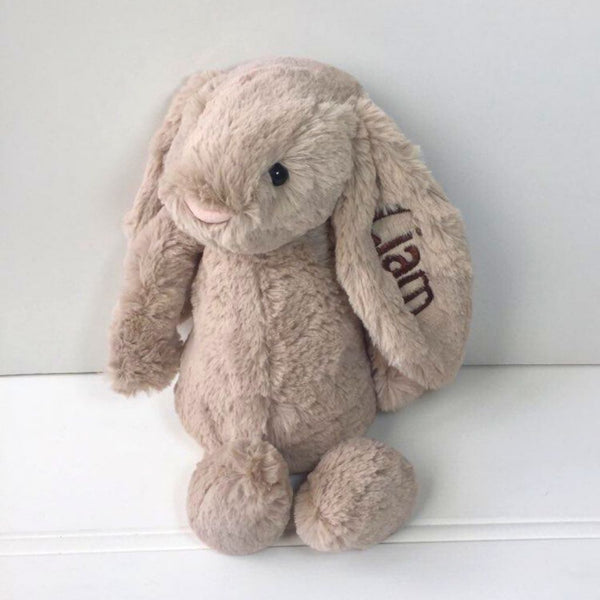 Personalised Jellycat Bunny, beige with brown name on ear