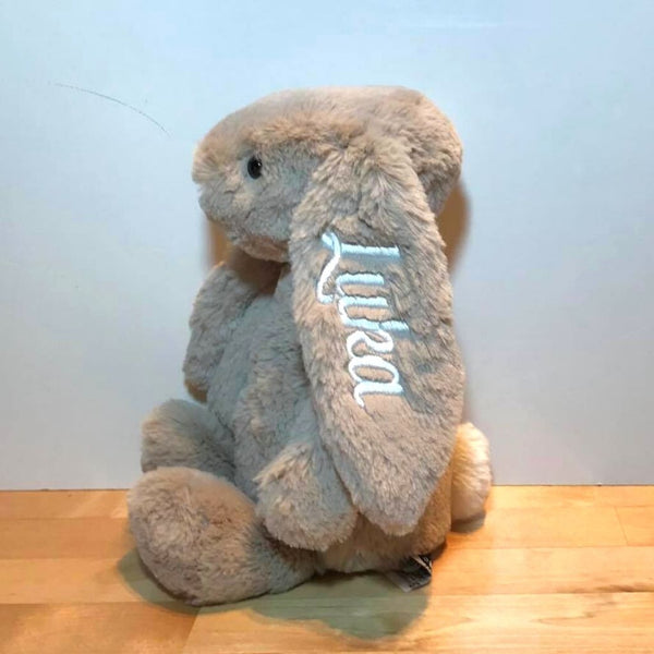 Personalised Jellycat Bunny, beige with white name on ear