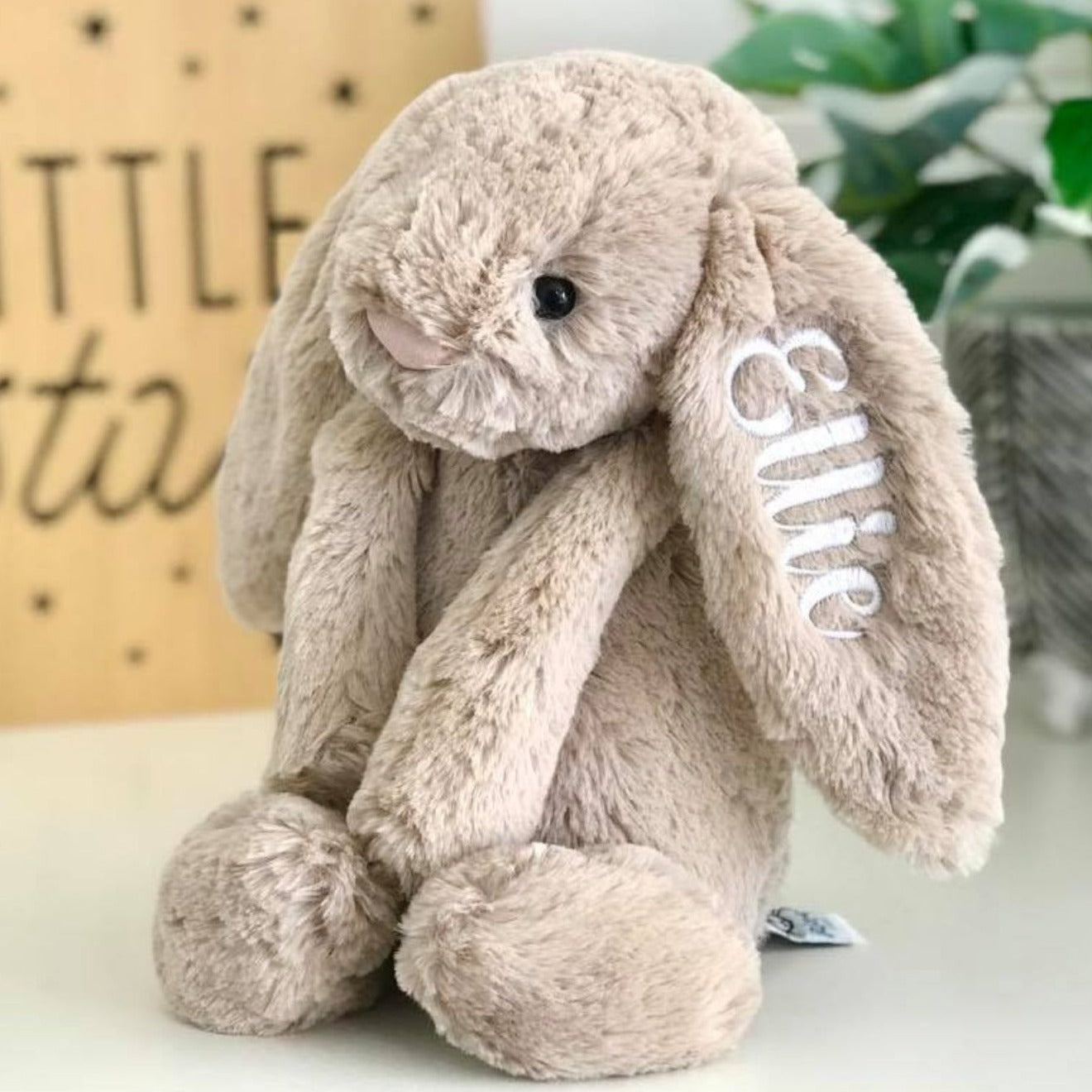 Personalised Jellycat Bashful Bunny Beige Australia, embroidered with white name on ear