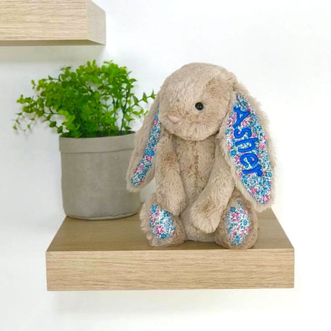Personalised jellycat bunny beige blossom with blue name on ear