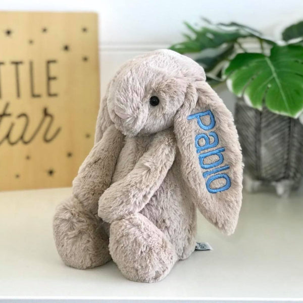 Personalised Jellycat Bashful Bunny Beige Australia, embroidered with blue name on ear