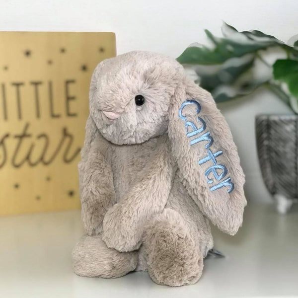 Personalised Jellycat Bunny Australia, beige with blue name embroidered on ear