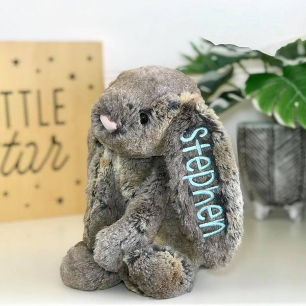 Personalised jellcat bunny Cottontail Australia with blue name on ear