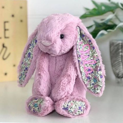 Personalised Jellycat Bunny Australia Tulip Blossom Pink Floral Name ears