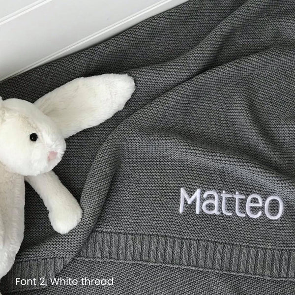 Personalised Knit Baby Blanket Australia Grey Blanket  Name Embroidered