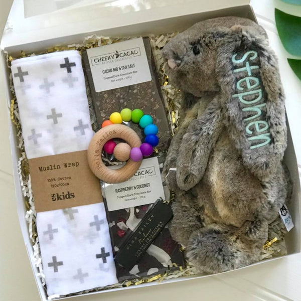 Personalised jellcat bunny Cottontail Australia with blue name on ear, newborn gift hamper