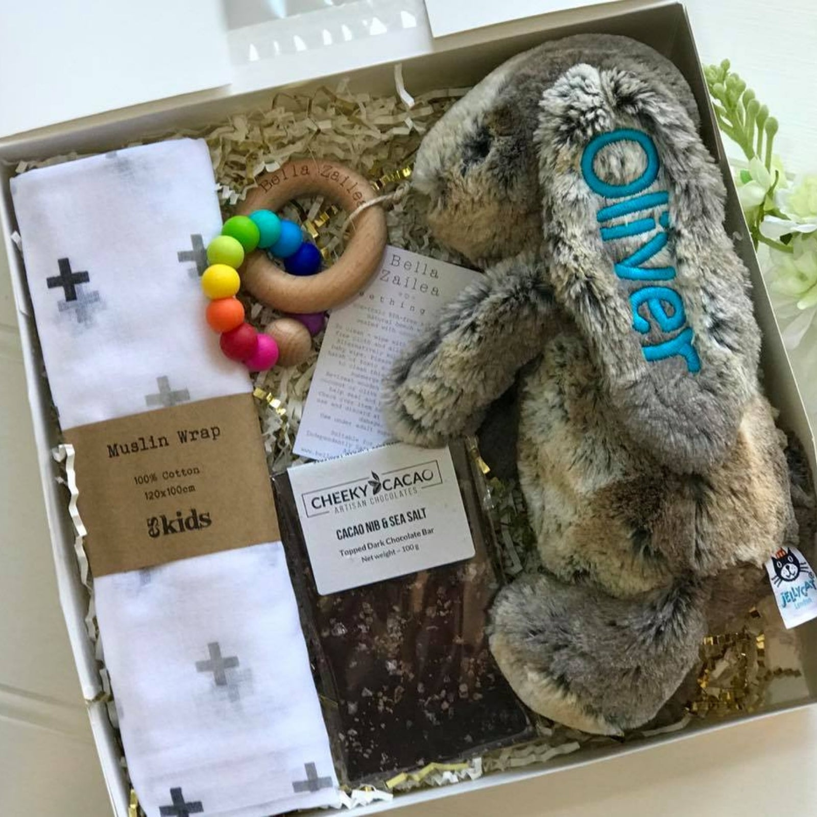 Personalised newborn gift hamper jellcat bunny Cottontail Australia with blue name on ear