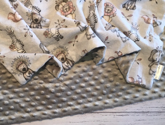 Personalised Minky Blanket - Tribal Safari