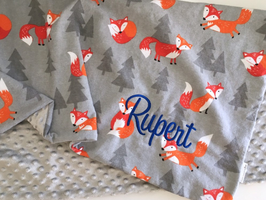 Personalised Minky Blanket - Foxes
