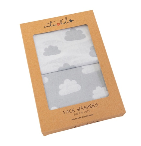 Emotion & Kids | Grey Clouds Muslin Face Washers