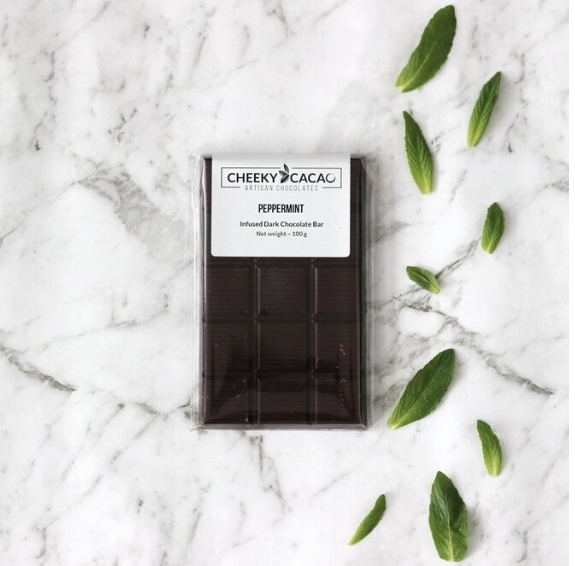 Cheeky Cacao peppermint infused chocolate bar