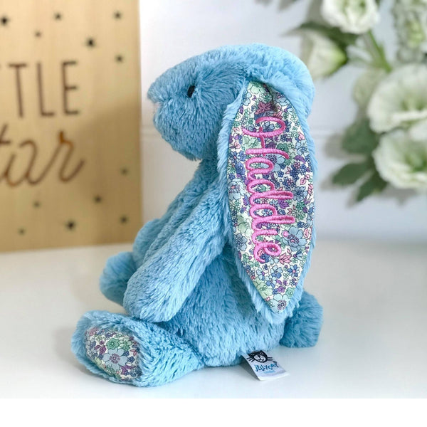 Pesonalised bunny Australia, blue jellycat bunny with pink name on ear
