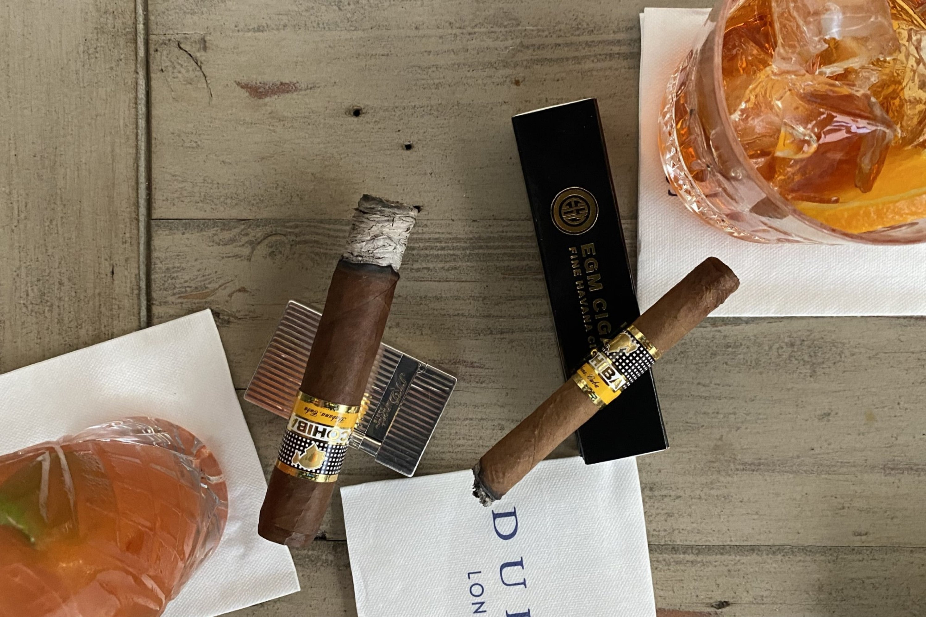 Cohiba Ccgars paired with negronis at Dukes Bar