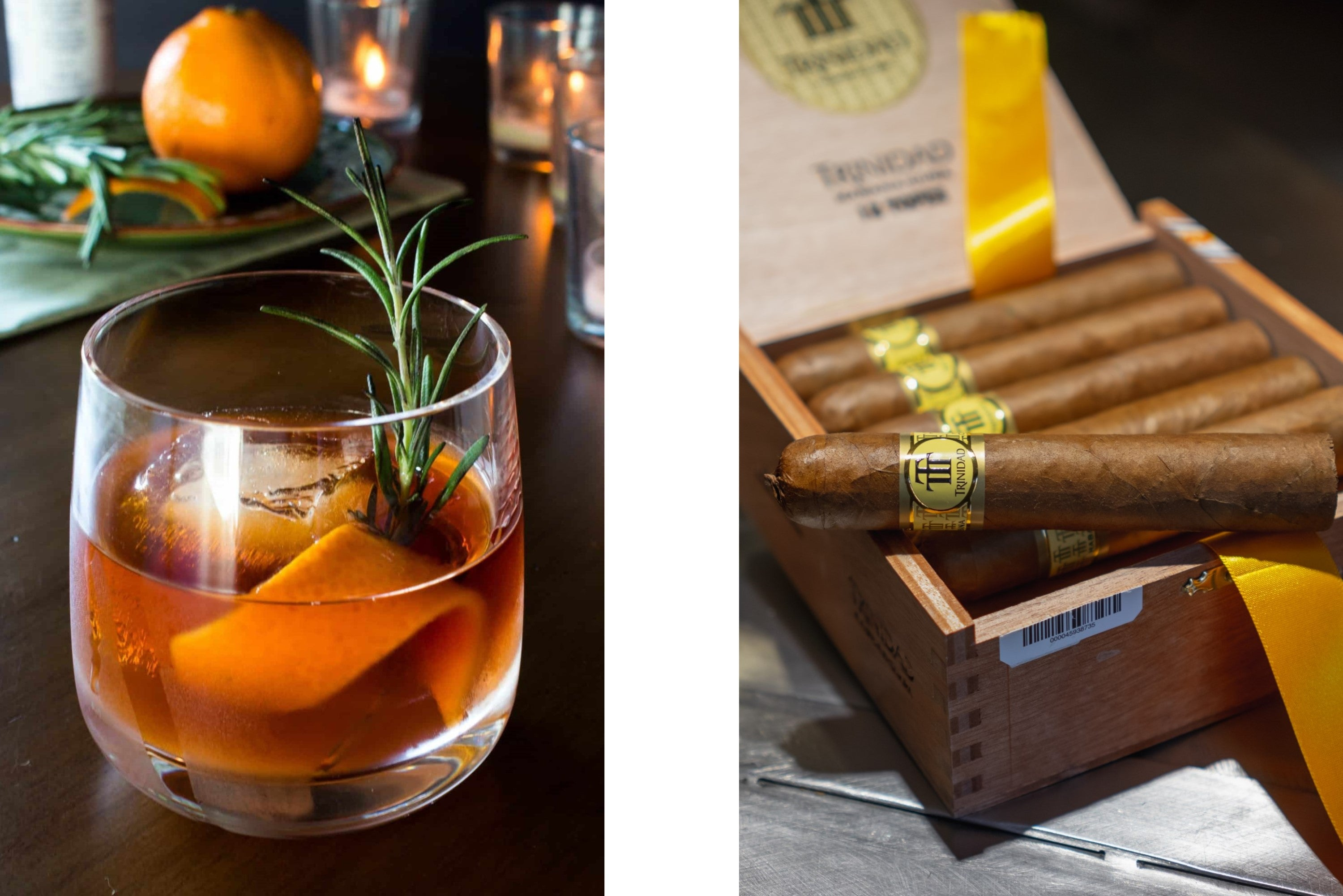 Smoked Old Fashioned with a box of Trinidad Topes