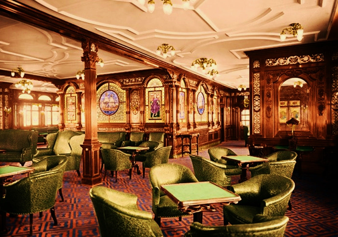 The First Class Smoking Room on the Titanic. EGM Cigars