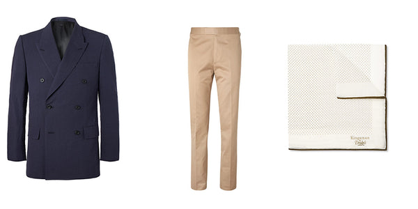 A jacket, trousers and handkerchief to wear to wimbledon