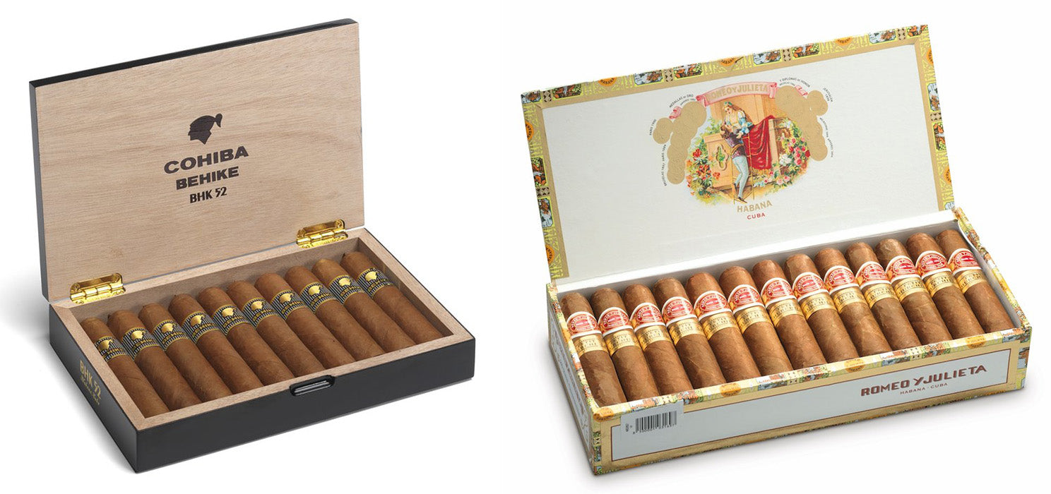 cohiba behike 52 cigars and romeo y julieta petit churchills cigar egm cigars