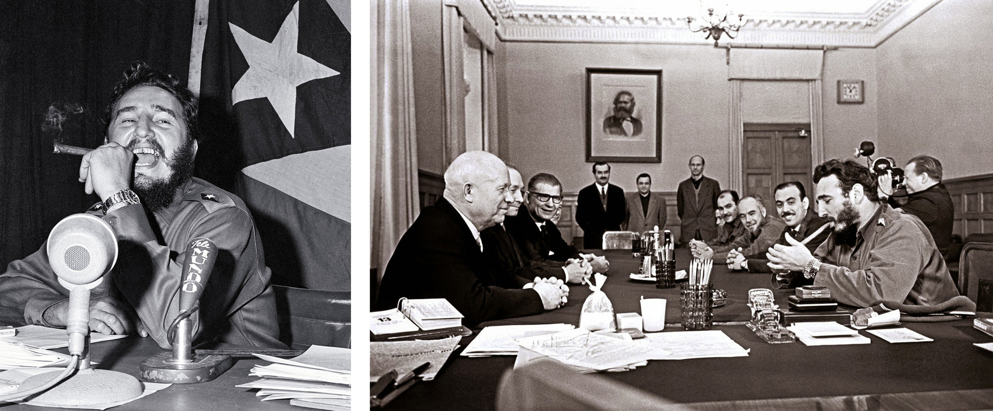 fidel castro smoking a Habano Fidel Castro lighting a cigar during a meeting with Khrushchev, Kremlin, 1963
