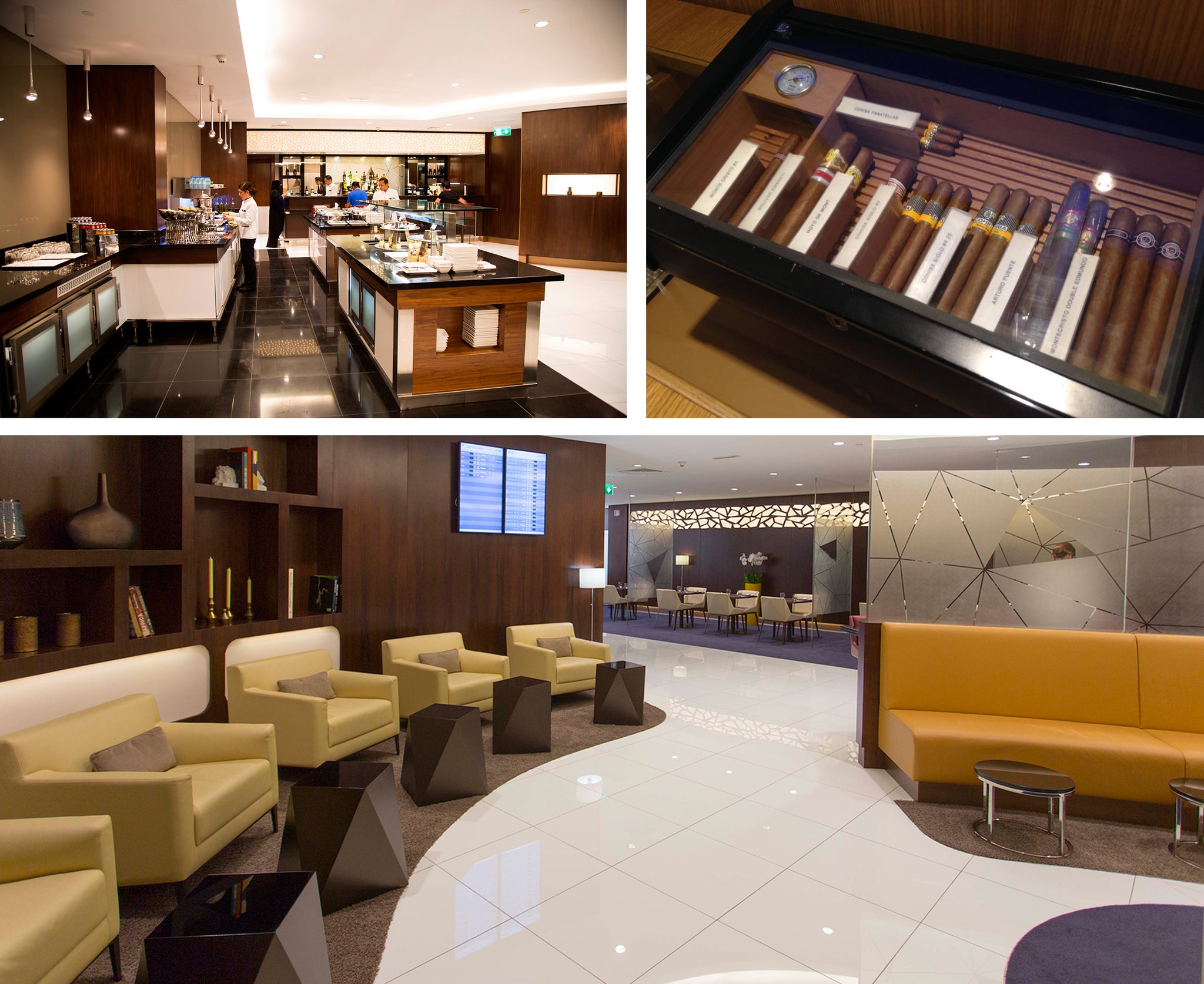 inside etihad airways first class lounge in abu dhabi airport EGM Cigars
