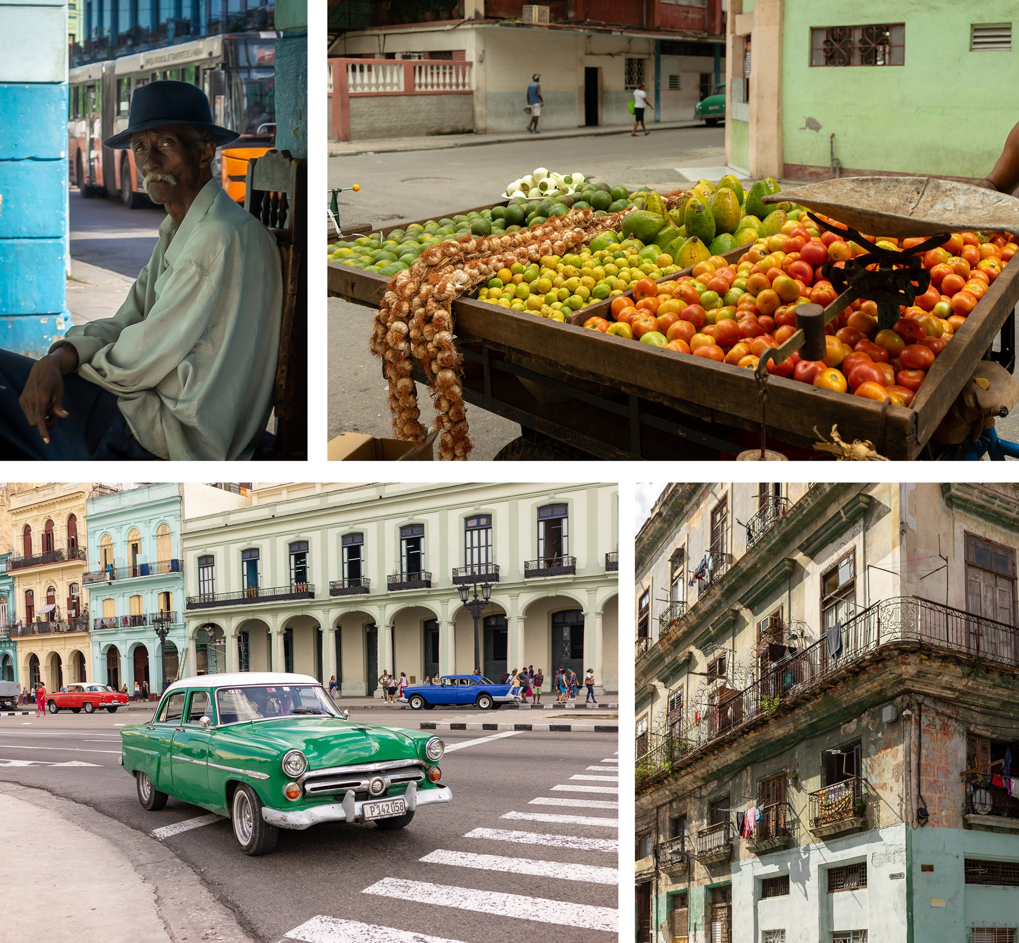 portrait of a local fresh fruits colourful car on the streets picturesque balcony havana cuba EGM Cigars