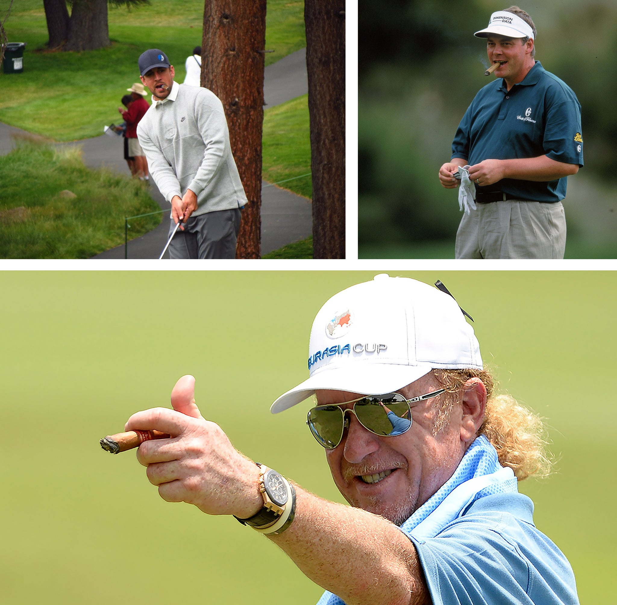 professional golfers aaron rodgers darren clarke and miguel angel jimenez smoking cuban cigars during golf game