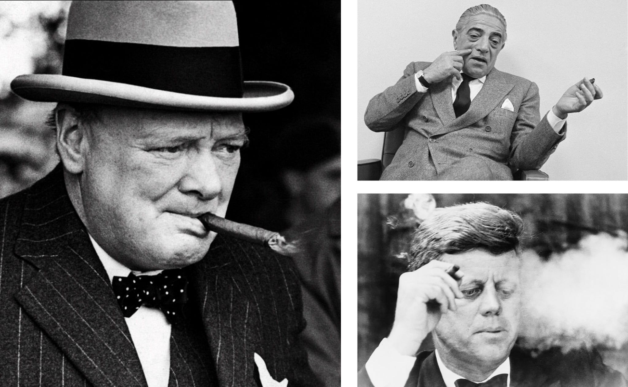 winston churchill aristotle onnasis and john f kennedy smoking cuban cigars egm cigars