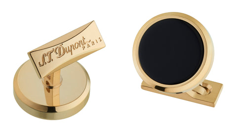 S.T. Dupont Round Cufflinks - Black and Gold. EGM