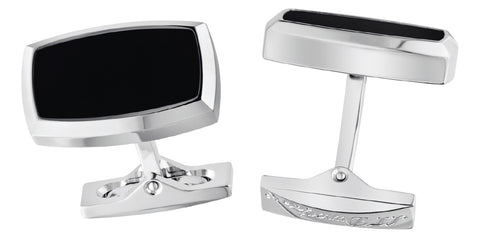 S.T. Dupont Label Collection Cufflinks - Stainless Steel and Black Lacquer. EGM